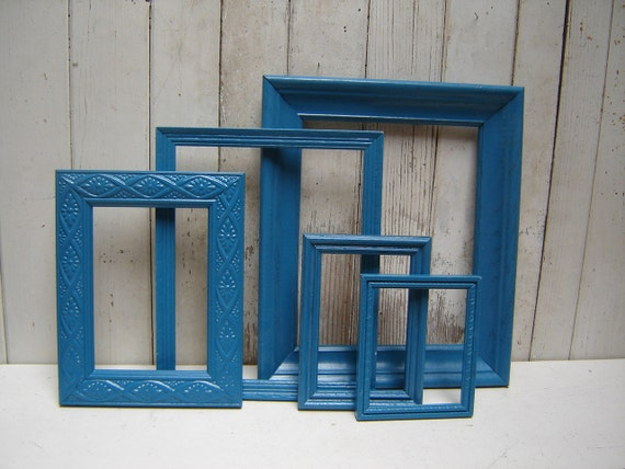 Painted frame set collection  -  Turquoise Blue Teal -  5 painted frames