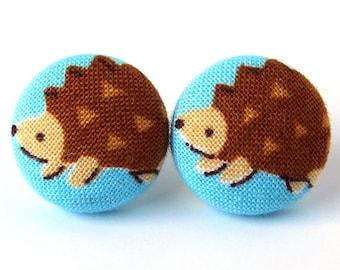 Hedgehog earrings - animal post earrings  - kawaii stud earrings - kids children fabric small tiny blue brown