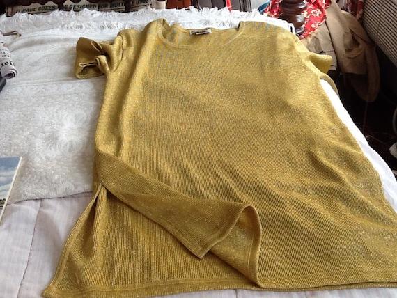 ON SALE Vintage Lew Magram Metallic Gold Mini Dress or Long Top Shirt