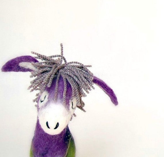 Karolina - Felt Donkey with  floppy ears, Art Marionette Handmade Puppet  Felted Stuffed Toy. purple lavender lilac dream. MADE TO ORDER