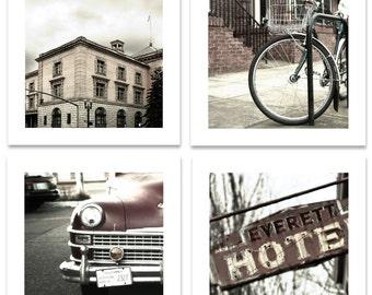 Pearl district  Maroons and Grey tones Portland Oregon Four 10 x 10 prints