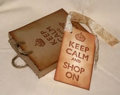 Custom Listing for Erin Keep Calm and Shop On Mini Vintage Inspired Hand Distressed Shopping Bag Favor Gift Card Holder Jewelry Bag
