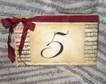 Vintage Style French Elegant Wedding Table Number Name Cards Cards with Music Design Original Design