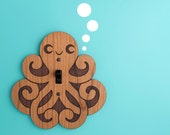 Wood Octopus Switchplate Kids Nursery Wall Light Switch Plate Cover