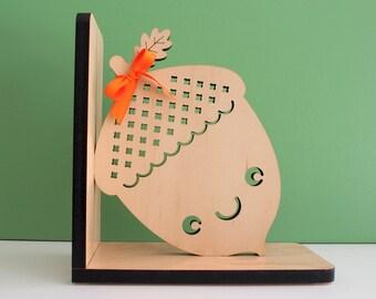 Acorn Wood Bookend Modern Baby Nursery Children