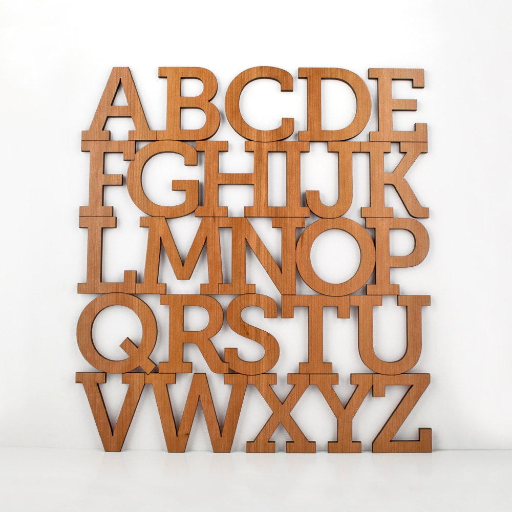 Wood Alphabet Letter Modern Typography by graphicspaceswood