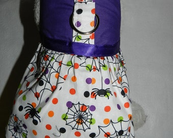 Purple SPIDER WEB Hallowen Polka Dot Harness Dress. Perfect Item for your Cat, Dog or Ferret. All Items Are Custom Made For Your Pet.