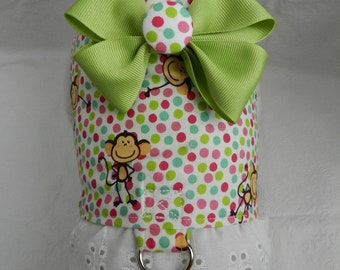 Funky Chunky Monkey RETRO Polka Dot Harness with Bow. Perfect Item for your Cat, Dog or Ferret. All Items Are Custom Made For Your Pet.