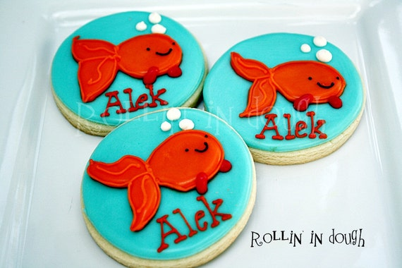 Goldfish Decorated Cookies, Fish Decorated Cookies, Goldfish Cookies - 12 Platter Size Cookies
