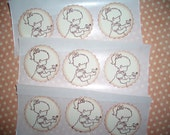 His Eye Is On The Sparrow Sticker Seals  -  Sweet image - Little Girl with Sparrow - Set of Twelve