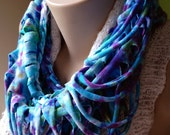 Upcycled T-Shirt Infinity Scarf - Blue & Purple Tie-Dye - Ribcage Style