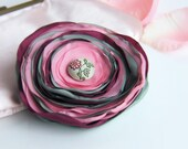 CLEARANCE - all must go, Fabric Flower brooch, Pink Rose Maroon Green Fabric flower, Fabric brooch, Flower pin, Flower Fabric button