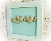 Unique OOAK Wedding gift - Wooden Board Ready to Hang -  genuine Heart shaped stones rocks