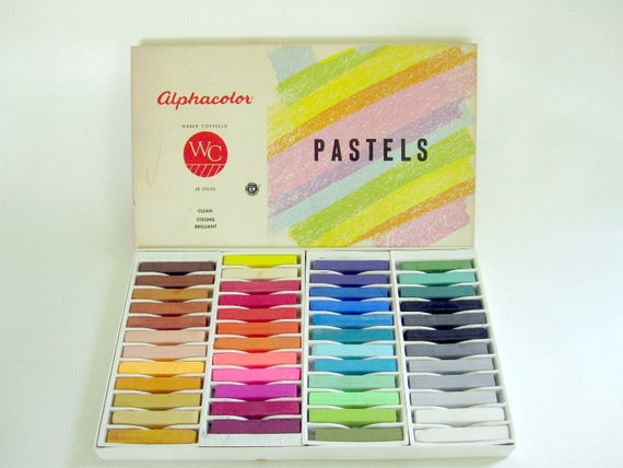 Rainbow Pastel Chalks Unused 48 Sticks - Vintage Art Supply