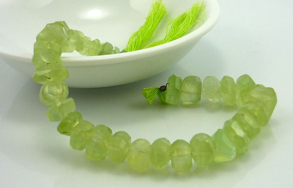 Glowing phrenite faceted nugget beads 8-13mm 1/2 strand