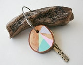 Pine  wood keychain with stainless steel cable wire, tones of  pink, mint, grey and light blue geometric triangle shapes - naneHandmade