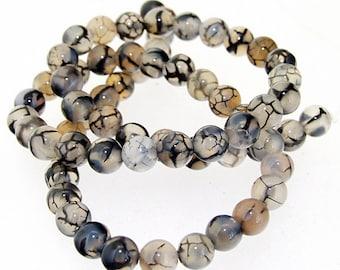 Charm Clear Black Dragon Agate Round 6mm Gemstone Beads One strand