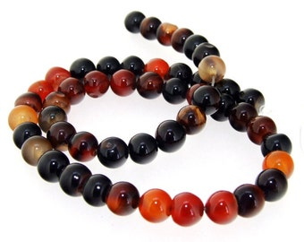 Charm Round Red Black Agate Beads Gemstsone One Strand 8mm 14.5""