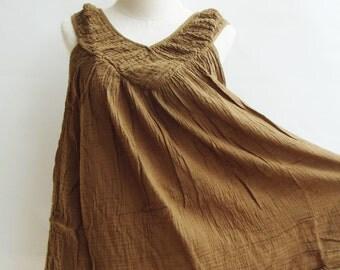 B9, Caramel Sleeveless V Neck Yellow Brown Cotton Blouse