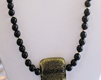 Gold and Black Speckled Glass Pendant & Black Glass Necklace Handmade