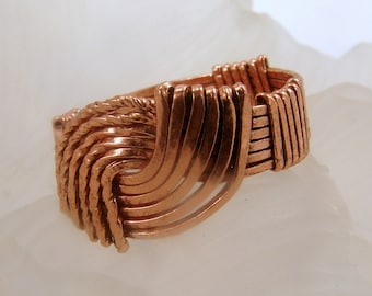Copper Wire Wrapped Hug Ring - Copper Hug Ring, Copper Ring, Handmade Copper Hug Ring