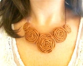 Cinnamon fabric flower statement necklace Pick Your Color