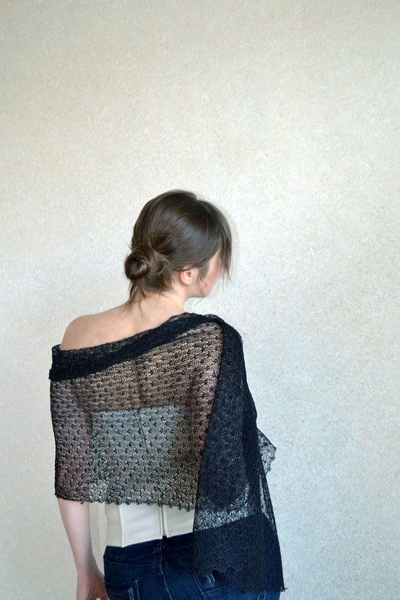 Black Scarf Linen Shawl Knitted Stole Sheer Gauzy Scarf Thin Linen Lace Scarf