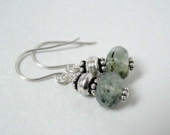 Green Earrings Sterling Silver Earrings Beaded Prehnite Gemstone Jewelry
