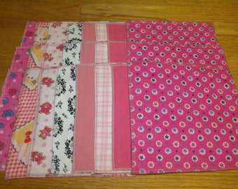 Baby WipesSet of 24 100% cotton flannel 2 layers in girl colors