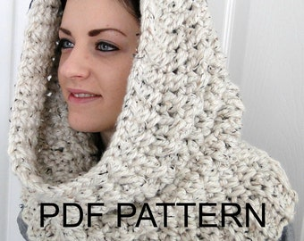 """PDF PATTERN ONLY Hooded Neck Warmer Cowl Scarf for Women """"Winters Comfort"""" Hooded Cowl"""