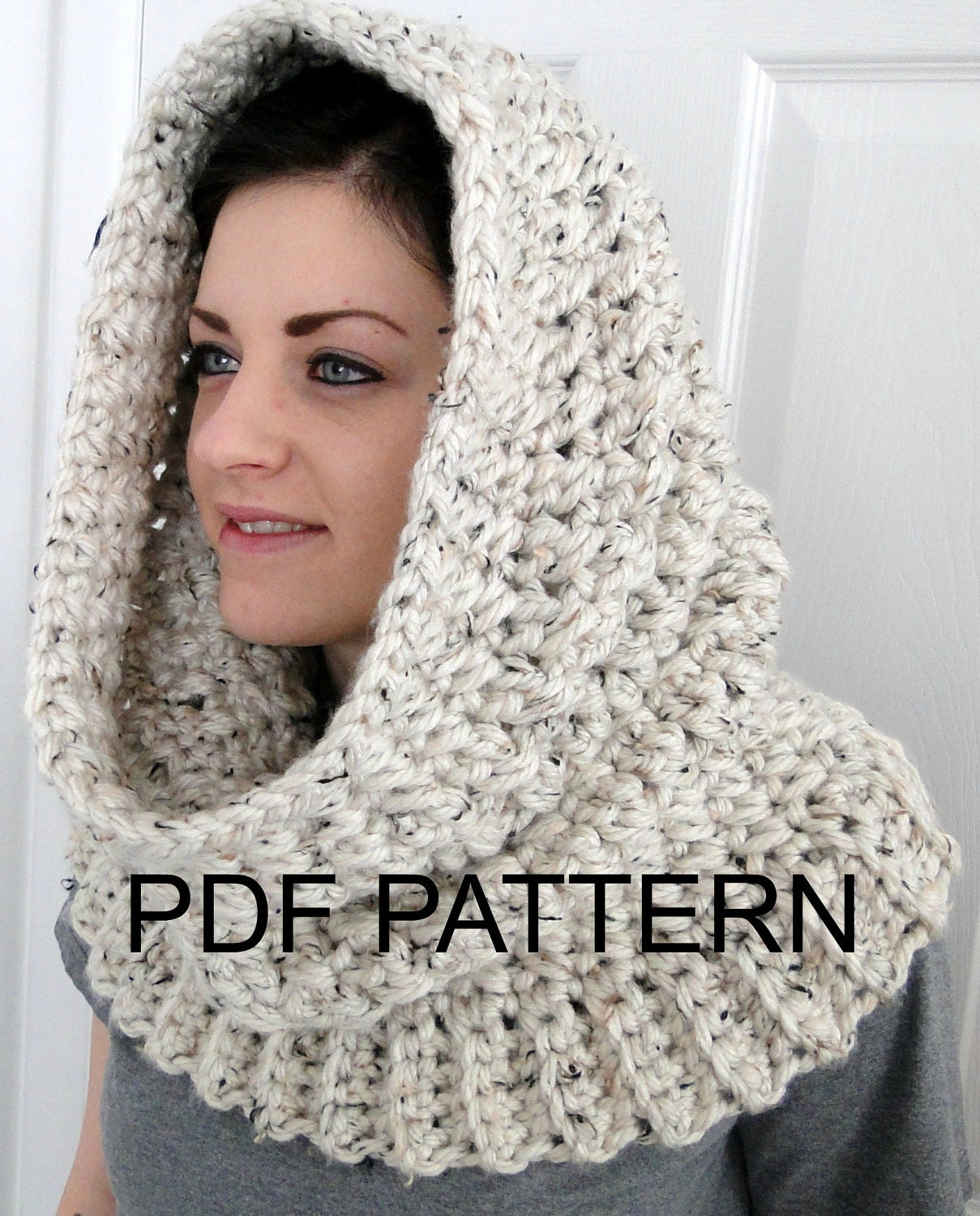 Knit Cowl Hood Pattern Free : PDF PATTERN ONLY Hooded Neck Warmer Cowl Scarf for Women