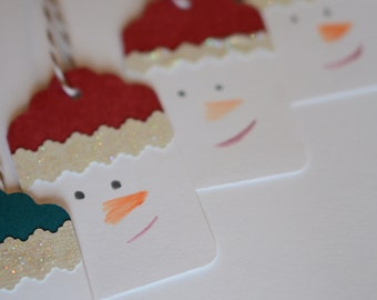 Snowman Gift Tags, Holiday Tags, Set of 10
