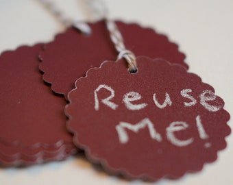 Chalkboard Tags Chalk Gift Labels Reusable Burgundy Tags Scalloped Circle