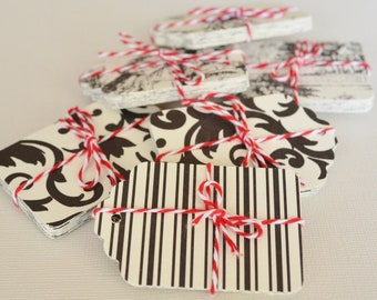 20 Striped Gift Tags, Black and White Hang Tag, Vintage Style Pictures on Paper Tag, Black and Cream Paper Tags, Damask Card Stock Tags