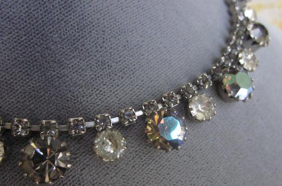 Vintage Signed WEISS Aurora Borealis Rhinestone Choker Necklace