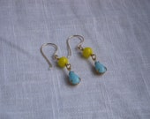 The Isabella Earrings - Vintage Canary Yellow and Robins Egg Blue Glass Drops 14K Gold Fill Wires