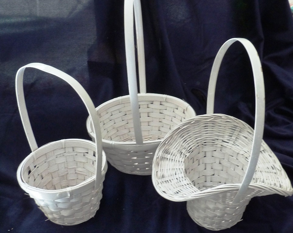 Rattan Flower Baskets : White wicker baskets flower girl