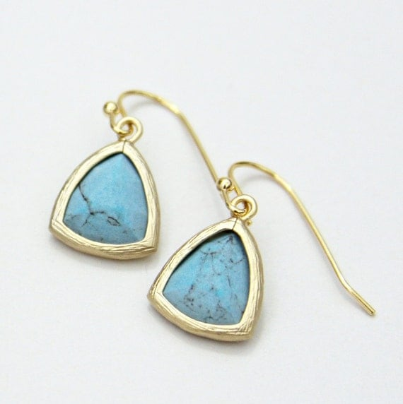 Turquoise Blue Triangle Faceted Stone Earrings Gold