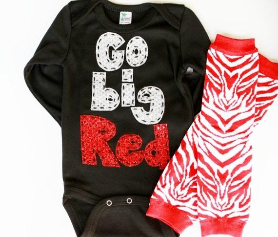 Go Big Red, shirt, oneise, baby leg set