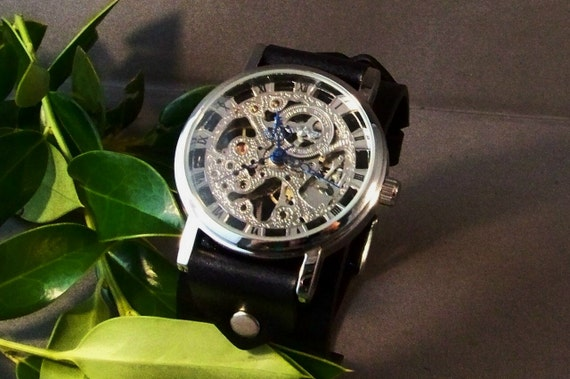 Leather Watchband ( Classic Mechanical On Black)