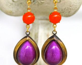 Vintage  Orange Purple Pear Tear Drop Antiqued Brass Drop Dangle Earrings -Beach, Boho, Bridal
