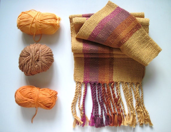 Mustard Golden Handwoven Scarf with Purple and Brown Highlights
