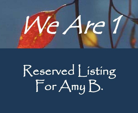 RESERVED LISTING for Amy B.