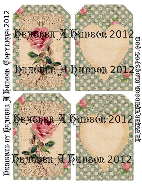 Shabby Vintage Soft Green Roses Digital Collage tags