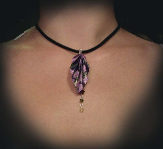 """Origami Leaf Necklace  Purple with Crystals 16"""" adjustable black cord choker"""