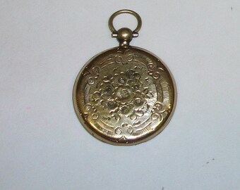 Antique Gold Clad Hand Engraved Victorian Floral Watch Case Half with Loop and Hanger STEAMPUNK