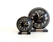Vintage Big Ben - Little Ben Pair of Mid Century Westclox Alarm Clocks 1950s