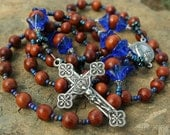 Sterling Silver Bayong Wood Rosary French Crucifix Our Lady of Fatima Center