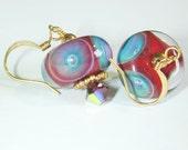 JBB Caribbean Fish Eye BORO Handmade LAMPWORK Earrings