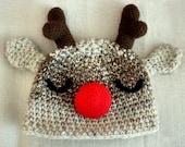 CIJ SALE 0 to 3m Newborn Christmas Hat, Baby Reindeer Hat Rudolph Red Nose Reindeer Baby Shower Gift Crochet Newborn Reindeer Baby Hat